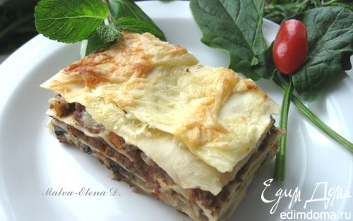 Рецепт Лазанья с рагу болоньезе (ragù alla bolognese), грибами и моцареллой