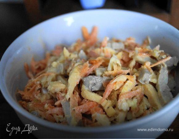 Легкий салат с морковкой и мясом