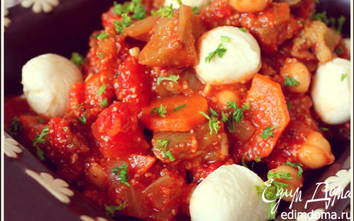 Рецепт Овощное рагу с нутом и моцареллой