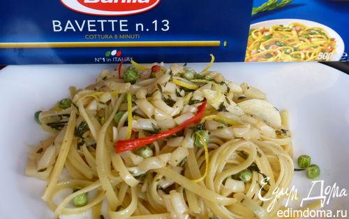 Рецепт Баветте с кальмарами и зеленым горошком