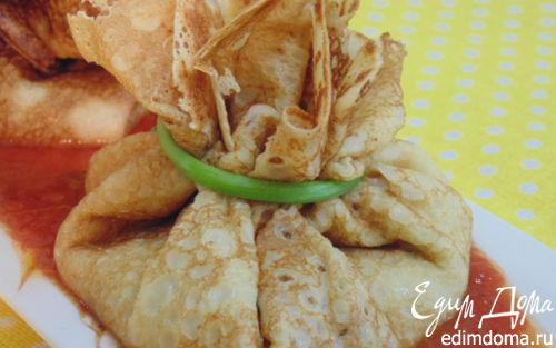 Рецепт Блинчики с баклажановой начинкой в томатном соусе