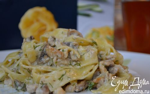 Рецепт Фетучини с курицей и грибами