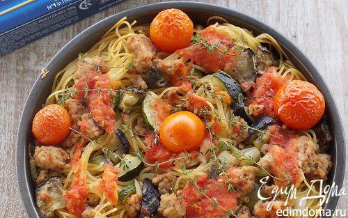 Рецепт Спагетти, запеченные с овощами, куриным фаршем и томатами