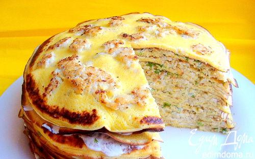 Рецепт Рыбный торт из пряных блинов с припеком