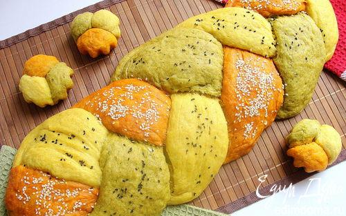 """Рецепт Цветной хлеб без дрожжей """"Коса-краса"""" с натуральными добавками"""