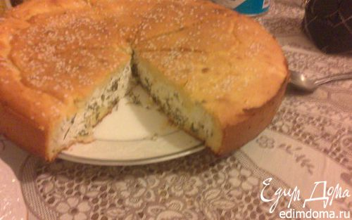 Рецепт Пирог из кукурузной муки с творогом, тмином и пряными травами