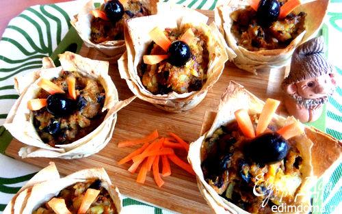 Рецепт Грибы с картошкой в корзиночках из лаваша (постные)