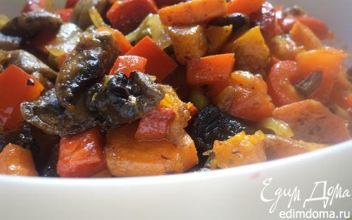 Рецепт Горячий овощной салат с шампиньонами