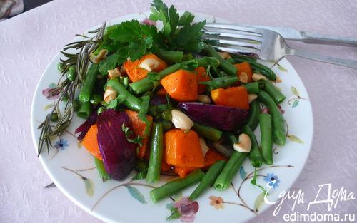 Рецепт Теплый салат из тыквы с красным луком и фасолью