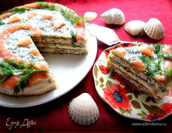 Торт из лосося с прослойкой из хачапури