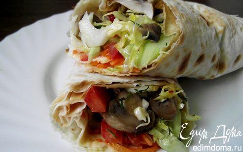 Рецепт Лаваш с овощами на костре