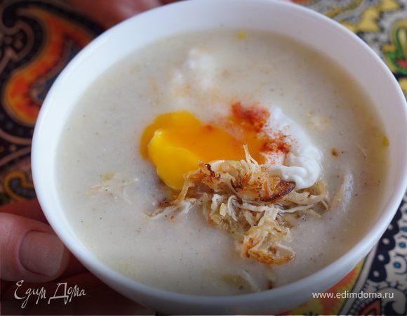 Суп рисовый с яйцом пашот