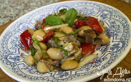 Рецепт Салат с фасолью и утиной грудкой
