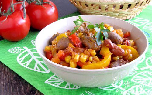 Рецепт Рагу из куриных сердечек в мексиканском стиле