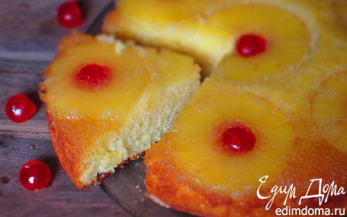 Рецепт Перевернутый пирог с ананасами и карамелью
