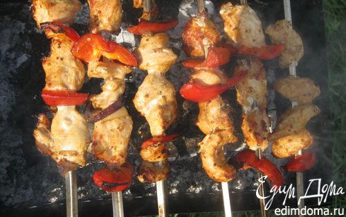 Рецепт Шашлык из цыпленка в горчичном маринаде с болгарским перцем