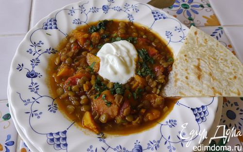 Рецепт Суп с тыквой, сладким картофелем и чечевицей