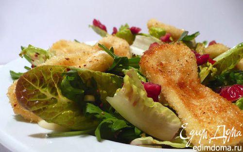 Рецепт Листовой салат с ягодной заправкой, вяленой клюквой и камамбером