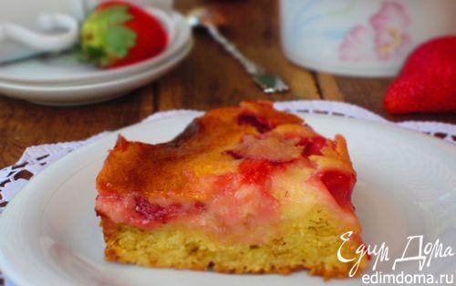 Рецепт Клубничный пирог с йогуртовой заливкой
