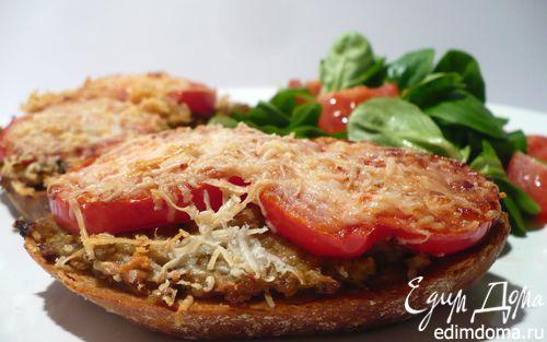 Рецепт Горячие бутерброды с баклажаново-кунжутной икрой и томатами