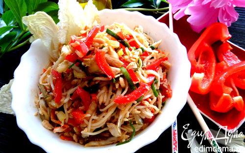 Рецепт Рисовая вермишель с овощами и курицей