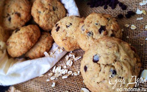 Рецепт Овсяное печенье с шоколадными каплями и орехами