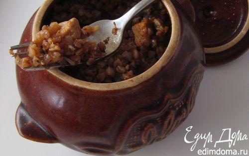 Рецепт Греча с мясом и грибами в горшочке