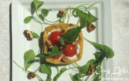 Рецепт Закусочные тарталетки из поленты с козьим сыром и помидорками черри