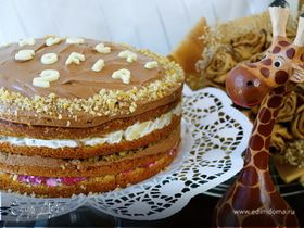 Фруктовый торт с шоколадной глазурью