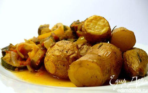 Рецепт Запеченный картофель с розмарином и рататуем