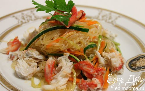 Рецепт Фунчоза с овощами и мясом краба