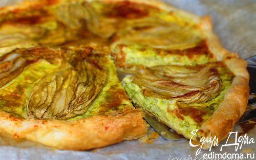 Рецепт Овощной киш с сыром и цветками цукини