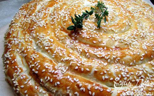 Рецепт Слоеный пирог с форелью и картофелем
