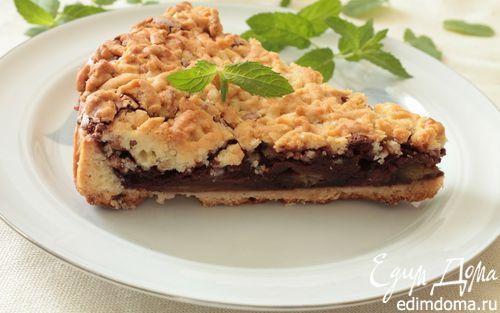 Рецепт Сливовый пирог с шоколадным пудингом