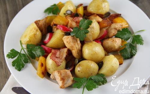 Рецепт Картофельный салат с курицей, беконом и редисом