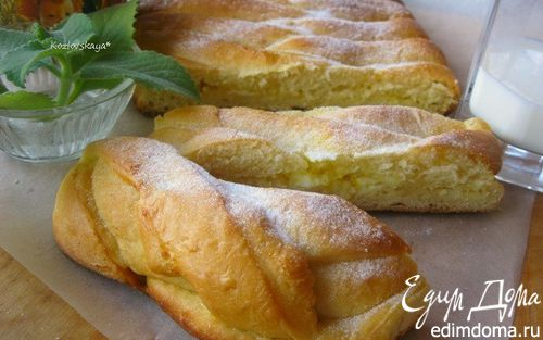 Рецепт Пирог-косичка со сливочно-лимонной начинкой