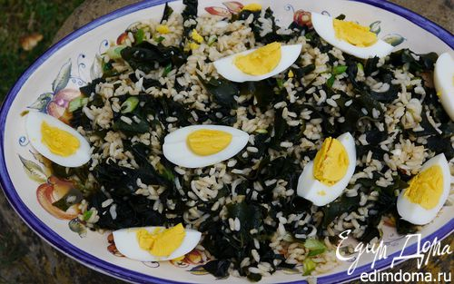 Рецепт Рисовый салат с морскими водорослями и яйцами