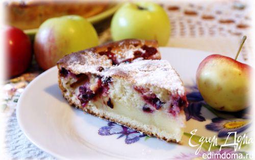 Рецепт Яблочно-клюквенный пирог со сметанной заливкой