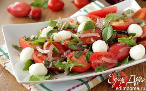 Рецепт Салат с помидорами, моцареллой и руколой