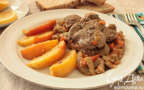 Рецепт Куриная печень с яблоками и баклажанами
