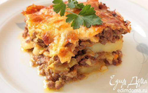 Рецепт Запеканка из говяжьего фарша с луком-пореем и картофелем