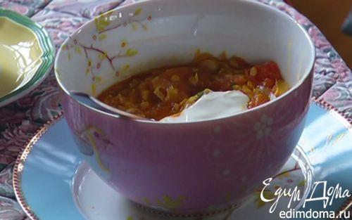 Рецепт Супчик из чечевицы с пореем и помидорами