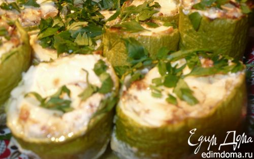 Рецепт Кабачки, фаршированные творожным сыром