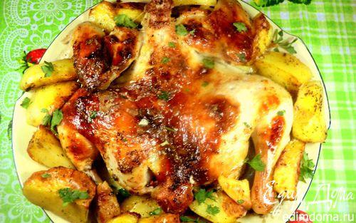 Рецепт Курочка, запеченная с картофелем по-домашнему
