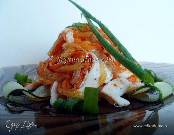 Салат из кальмаров с морковью