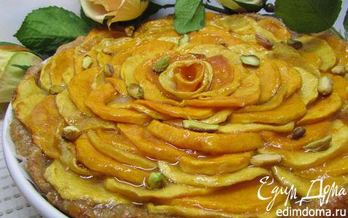 Рецепт Пирог с карамелизированной тыквой, фисташками и марципаном