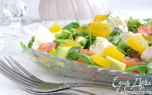 Рецепт Салат с форелью и апельсиновым желе