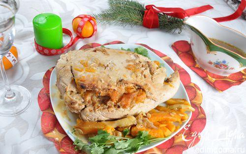 Рецепт Филе индейки, запеченное в рукаве с тыквой и яблоками