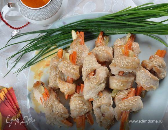 Завитушки из куриного филе с морковью и сельдереем