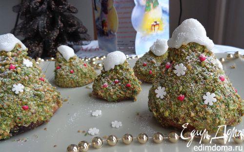 Рецепт Рождественские елочки из миндального бисквита